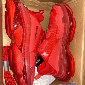 Balenciaga triple S red clear bottom